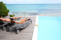 Pokojowy i relaksujący czas plażą Zdjęcie Stock