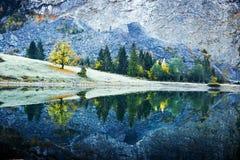 Pokojowy jesień widok na Obersee jeziorze w Szwajcarskich Alps zdjęcie stock