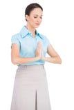 Pokojowy młody bizneswomanu modlenie Zdjęcie Stock