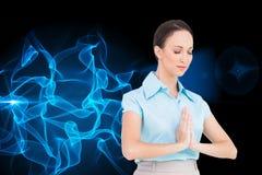 Pokojowy młody bizneswomanu modlenie Obraz Royalty Free
