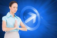 Pokojowy młody bizneswomanu modlenie Fotografia Royalty Free