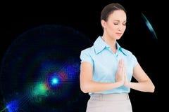 Pokojowy młody bizneswomanu modlenie Fotografia Stock