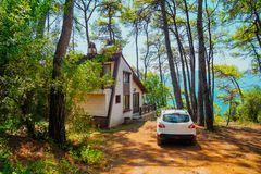 Pokojowy samochodowy pod drzewami i mieszkaniowy obraz royalty free