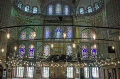 Pokojowy wn?trze, B??kitny meczet, Istanbu? obrazy stock
