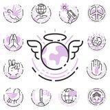Pokoju konturu ikon miłości wolności cienkiego kreskowego światowego zawody międzynarodowi opieki nadziei symboli/lów wektoru bez Zdjęcia Royalty Free