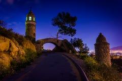Pokoju most przy nocą, przy góry Rubidoux parkiem Fotografia Royalty Free