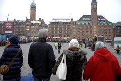 POKOJU protest PRZY KOPENHAGA urzędem miasta Zdjęcia Royalty Free