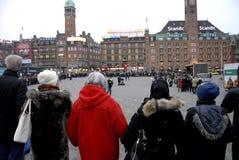 POKOJU protest PRZY KOPENHAGA urzędem miasta Zdjęcia Stock