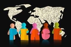 Pokoju Wektorowy slogan - tytuł z papierów Rżniętymi ludźmi na czerni ziemi mapie ilustracji