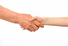 Pokolenia - babci i wnuka uścisk dłoni fotografia stock