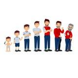 Pokolenie mężczyzna Ludzie pokoleń przy różnymi wiekami Wszystko starzeją się kategorie - niemowlęctwo, dzieciństwo, adolescencja ilustracja wektor