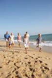 pokolenie plażowy rodzinny portret trzy Obrazy Royalty Free