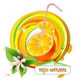 Pokrajać pomarańcze z kwiatami ilustracja wektor