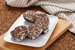 pokrajać czekoladowy salami Obrazy Stock