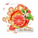 Pokrajać grapefruit z kwiatami Zdjęcia Royalty Free