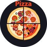 Pokrojeni kawały pizza ilustracji