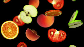 Pokrojeni kawałki owoc spada na czarnym tle, 3d ilustracja Fotografia Stock