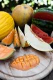 Pokrojeni melonów kawałki Obraz Royalty Free