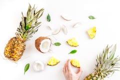 Pokrojone egzotyczne owoc na białej tło odgórnego widoku przestrzeni dla teksta Obrazy Stock