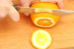 Pokrojone pomarańcze na drzewie Zdjęcie Stock