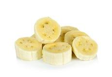 Pokrojony banan odizolowywający na bielu Obrazy Stock