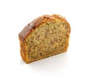 Pokrojony bananowy chleb odizolowywający na tle Zdjęcia Stock