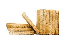 Pokrojony crispy piec chleb odizolowywający na bielu Obrazy Stock