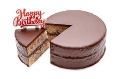 Pokrojony czekoladowy ganache torta funt Zdjęcia Royalty Free