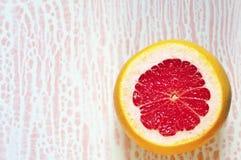 Pokrojony grapefruitowy na abstrakcjonistycznym białym i różowym tle Zdjęcie Stock