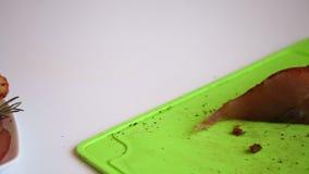 Pokrojony jerky kurczaka mięso, kłaść na spodeczku Przygotowanie polędwicowy wysuszony kurczak zbiory wideo