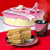 Pokrojony smakowity miodowy tort obraz stock
