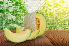 Pokrojony zielony melon lub kantalup na brown drewnianym tarasie zdjęcie royalty free