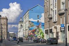 Pokrovka-Straße, Graffiti mit dem Bild der Krim auf der Front des Hauses Lizenzfreie Stockfotografie