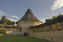 Pokrovskaya Tower. This Tower in  Pskov is one of the biggest in Europe Royalty Free Stock Photo