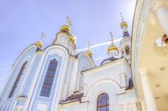Pokrovskoe-Tatianinskykathedrale Tscheboksary Russland Stockfotos