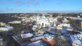 Pokrovsky大教堂的看法,1月空中录影 gatchina俄国 股票录像
