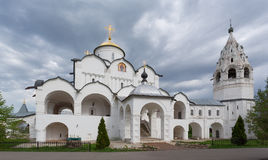 Pokrovsky Cathedral with a belltower in Sacred Pokrovsky a female monastery in Suzdal Royalty Free Stock Photo