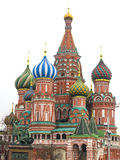 Pokrovsky domkyrka (St-basilikas domkyrka) och staty i Moskva Arkivfoton