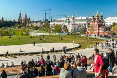 Pokrovsky St basilu Katedralny ` s Kremlin i Moskwa Obrazy Royalty Free