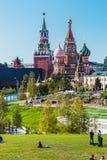 Pokrovsky St basilu Katedralny ` s Kremlin od Pa i Moskwa Obrazy Royalty Free