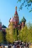 Pokrovsky St basilu Katedralny ` s Kremlin od Pa i Moskwa Obrazy Stock