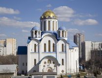 Pokrovsky temple in Yasenevo. Church of the Intercession of the Holy Mother of God in Yasenevo, Moscow. The temple was founded in the 2009 year and costed on Stock Photos