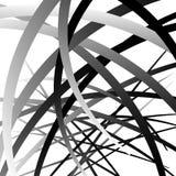 Pokrywać się przypadkowego wyginającego się linii, kształtów grayscale geometrycznego klepnięcie/ ilustracji