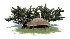 Pokrywa strzechą budę w trawie i drzewach - na białym tle Zdjęcia Royalty Free