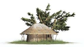 Pokrywa strzechą budę w trawie i drzewie - na białym tle Obraz Stock