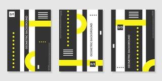 Pokrywa szablony ustawiający z modnymi geometrycznymi wzorami, kolor żółty, czerń, biali kolorów elementy Zdjęcia Royalty Free