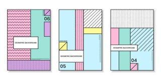 Pokrywa szablony ustawiający z modnymi geometrycznymi wzorami Zdjęcie Royalty Free