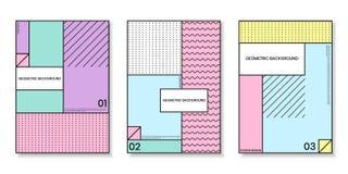 Pokrywa szablony ustawiający z modnymi geometrycznymi wzorami Zdjęcia Stock