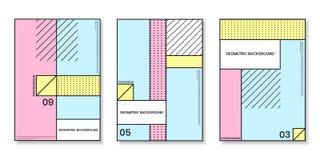 Pokrywa szablony ustawiający z modnymi geometrycznymi wzorami Obraz Royalty Free