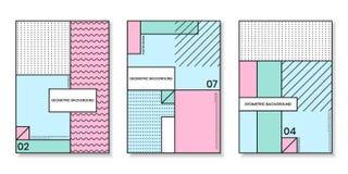 Pokrywa szablony ustawiający z modnymi geometrycznymi wzorami Obraz Stock